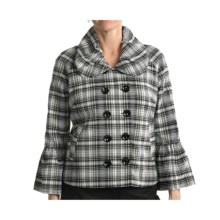 Samuel Dong Plaid Jacket - Double-Breasted (For Women) in White/Black - Closeouts