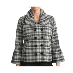 Samuel Dong Plaid Jacket - Double-Breasted (For Women) in White/Black