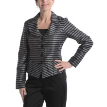 Samuel Dong Portrait Collar Shirt - Peplum (For Women) in Black/Silver - Closeouts