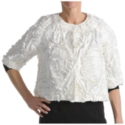 Samuel Dong Ribbon Jacket - 3/4 Sleeve (For Women) in Ivory