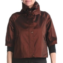 Samuel Dong Stretch Taffeta Crop Jacket (For Women) in Sangria - Closeouts