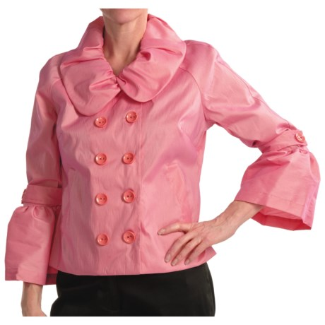 Samuel Dong Stretch Taffeta Jacket - Double Breasted (For Women) in Pistachio
