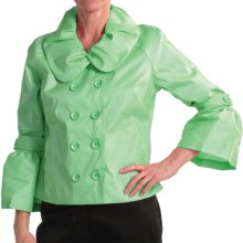 Samuel Dong Stretch Taffeta Jacket - Double Breasted (For Women) in Pistachio - Closeouts
