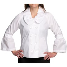 Samuel Dong Stretch Taffeta Jacket - Double Breasted (For Women) in White - Closeouts