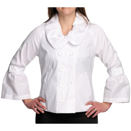 Samuel Dong Stretch Taffeta Jacket - Double Breasted (For Women) in White