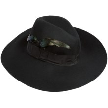 San Diego Hat Company Floppy Brim Feather Hat - Wool Felt (For Women) in Black - Closeouts