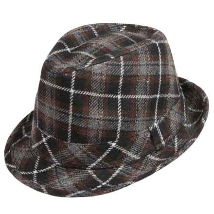 San Diego Hat Company Plaid Fedora Hat (For Kids) in Grey Plaid - Closeouts