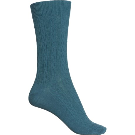 San Fran Cable Socks - Merino Wool, Crew (For Women) - TEAL (S/M ) -  Sockwell