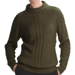San York Alpaca Cable Sweater (For Women) in Olive