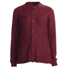 San York Alpaca Cardigan Sweater - Cable (For Women) in Burgundy - Closeouts