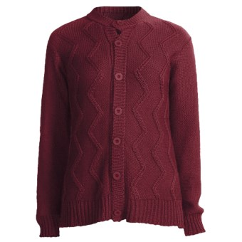San York Alpaca Cardigan Sweater - Cable (For Women) in Burgundy