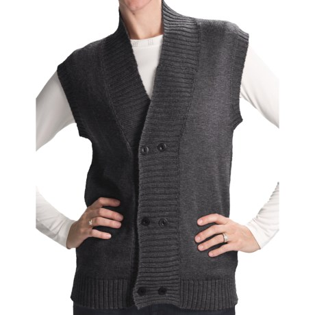 San York Alpaca Double-Button Vest (For Women) in Red