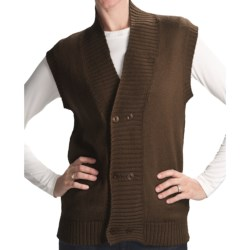 San York Alpaca Double-Button Vest (For Women) in Charcoal