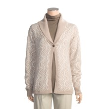 San York Jacquard Open Cardigan Sweater - Alpaca (For Women) in Tan/Cream - Closeouts