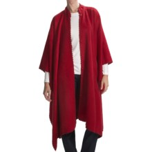 San York Long Alpaca-Blend Cape - Crochet Edging (For Women) in Red - Closeouts