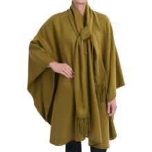 San York Long Alpaca Cape with Scarf - Crochet Edging (For Women) in Olive - Closeouts