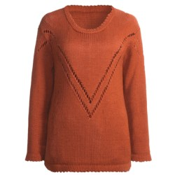 San York V-Pattern Sweater - Alpaca (For Women) in Rust