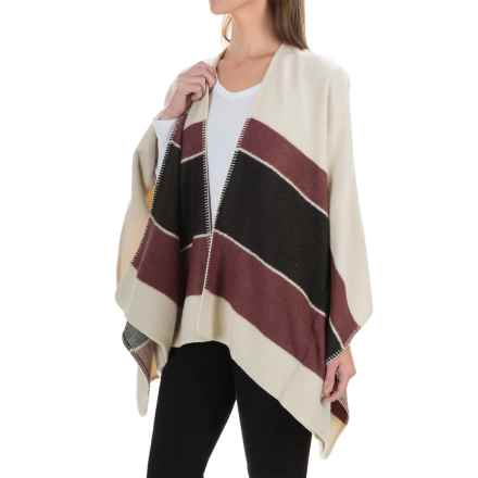 Sanctuary Striped Poncho - Open Front (For Women) in Beige/Burgundy/Black - Overstock