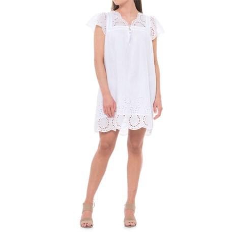Sand & Spirit Eyelet Babydoll Dress - Short Sleeve (For Women) in White