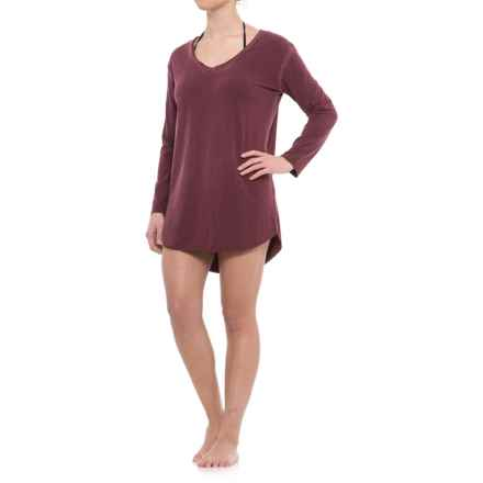 Sandiva Draped-Back Cover-Up Shirt - Long Sleeve (For Women) in Wine - Closeouts