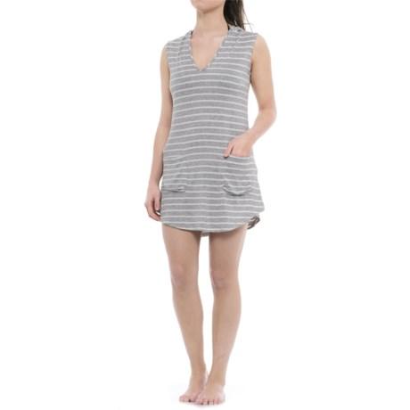 Sandiva Hooded Swimsuit Cover-Up - Sleeveless (For Women) in Heather Grey/White