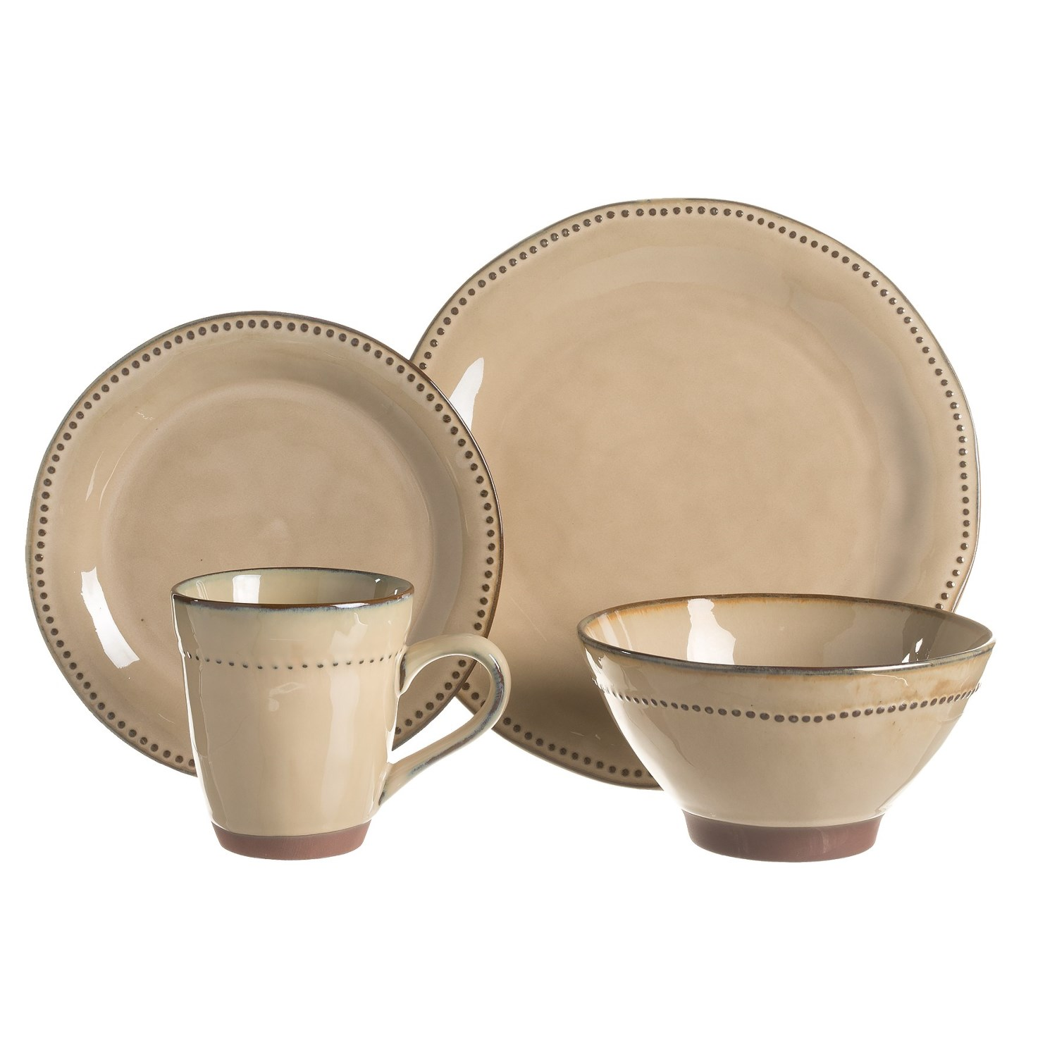 Sango Cyprus Stoneware Dinnerware Set - 16-Piece in Beige. Click to expand  sc 1 st  Sierra Trading Post & Sango Cyprus Stoneware Dinnerware Set - 16-Piece - Save 37%