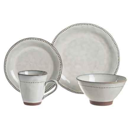 Sango Cyprus Stoneware Dinnerware Set - 16-Piece in White - Closeouts