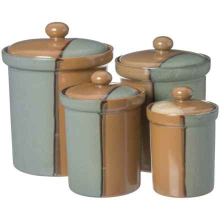 Sango Gold Dust Green Canister Set - Set of 4 in Tan/Blue - Closeouts