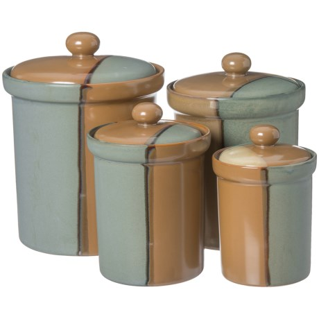 Sango Gold Dust Green Canister Set - Set of 4 - Save 58%