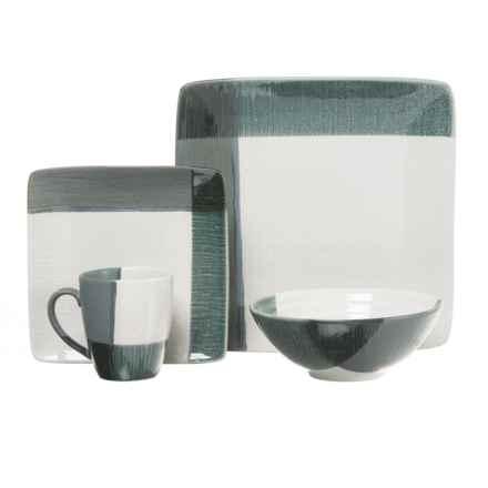 Sango Odyssey Stoneware Dinnerware Set -16-Piece in Blue/White - Closeouts