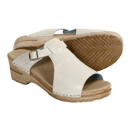 Sanita Dicte Metallic Slide Sandals (For Women) in White