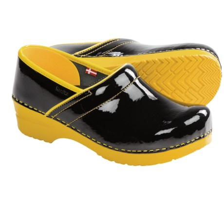 Sanita Professional Xenia Clogs - Patent Leather, Closed Back (For Women) in Black/Yellow