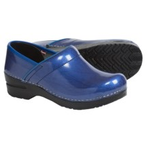 Sanita Signature Metallic Pearl Clogs - Patent Leather (For Women) in Blue - Closeouts