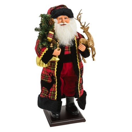 "Santa's Workshop 20"" Collectible Santa in Plaid Reindeer Claus"