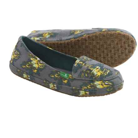 Sanuk Blanche Prints Canvas Shoes - Slip-Ons (For Women) in Charcoal/Ikat Floral - Closeouts