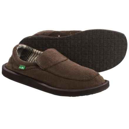 Sanuk Chiba Stitched Shoes - Canvas, Slip-Ons (For Men) in Dark Brown - Closeouts