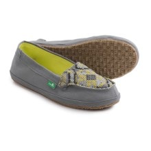Sanuk Cross-Stitch Shoes - Slip-Ons (For Women) in Charcoal/Highlighter - Closeouts