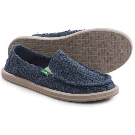 Sanuk Donna Knit Stitch Shoes - Slip-Ons (For Women) in Slate Blue - Closeouts