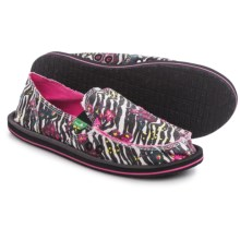 Sanuk Donna Mixed-Up Shoes - Slip-Ons (For Women) in Zebra Floral - Closeouts