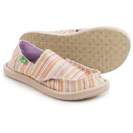Sanuk Donna Slip-On Shoes (For Little and Big Girls) in Purple/Orange Stripe - Closeouts