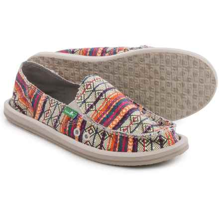 Sanuk Donna Tribal Shoes - Slip-Ons (For Women) in Olive Multi Tribal Stripe - Closeouts