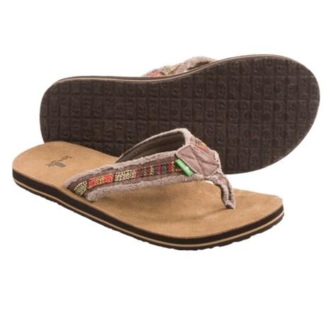 Sanuk Fraid So Thong Sandals - Flip-Flops (For Men) in Brown/Brown Multi