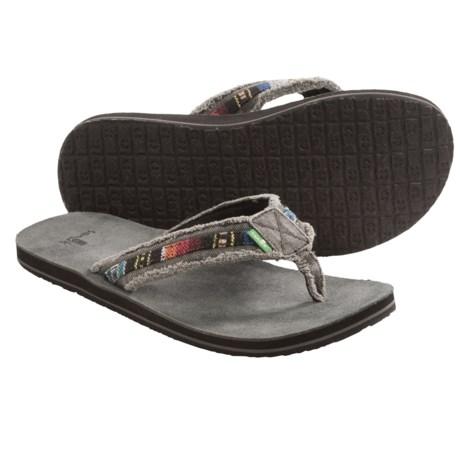 Sanuk Fraid So Thong Sandals - Flip-Flops (For Men) in Charcoal/Blue Multi