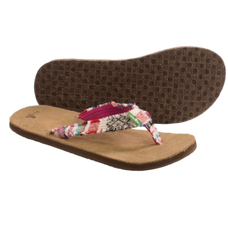 Sanuk Fraidy Cat Sandals - Flip-Flops (For Women) in Natural Poncho