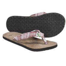 Sanuk Fraidy Cat Sandals - Flip-Flops (For Women) in Pink/White - Closeouts