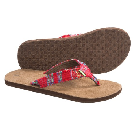 Sanuk Fraidy Cat Sandals - Flip-Flops (For Women) in Red