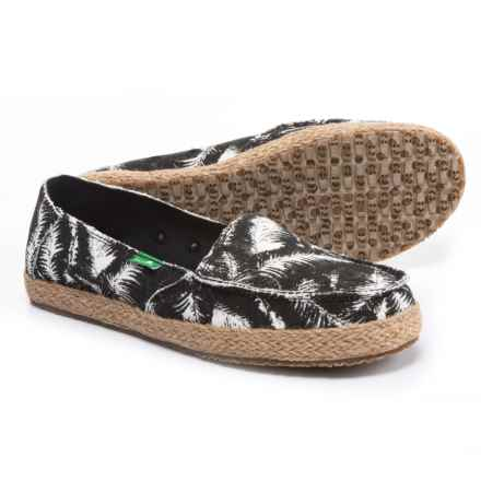 Sanuk Funky Fiona Shoes - Slip-Ons (For Women) in Black Hazy Palms - Closeouts