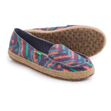 Sanuk Funky Fiona Shoes - Slip-Ons (For Women) in Slate Blue Zig Zag - Closeouts