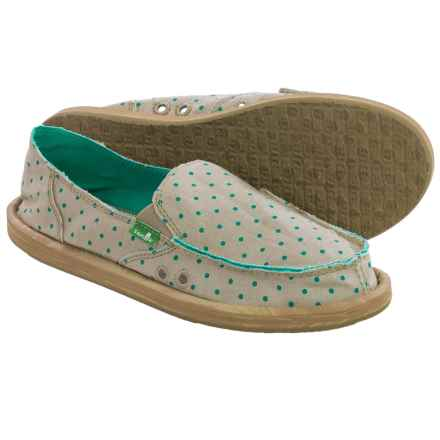 Sanuk Hot Dotty Chambray Espadrilles (For Women) in Natural/Hot Turquoise Dots - Closeouts
