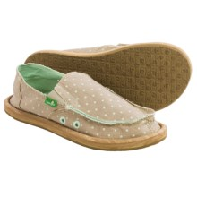 Sanuk Hot Dotty Chambray Shoes - Slip-Ons (For Big Girls) in Natural/Mint Dots - Closeouts